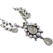 Vintage Sterling Silver Rutilated Quartz, Seed Pearl, Peridot and Citrine Necklace
