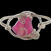 Vintage Sterling Silver Pink Agate Slice Bracelet