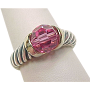 Vintage Sterling Silver Two-Tone Pink Bead Ring