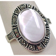 Vintage Sterling Silver Pink Mother of Pearl and Marcasite Ring
