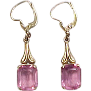 Vintage 10k Gold Pink Quartz Dangle Earrings