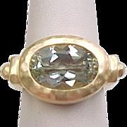 Vintage Gold Vermeil Hammered Prasiolite / Green Amethyst Ring
