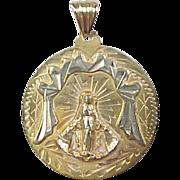 Vintage 18k Gold Two-Tone Religious Medallion / Pendant ~ Jesus