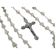 Vintage Sterling Silver Rosary Bead Necklace ~ Faceted Glass