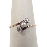 Victorian 14k Gold Cultured Pearl and Diamond Ring