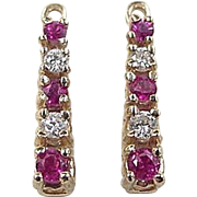 Vintage 14k Gold .42 ctw Ruby and Diamond Earring Jackets