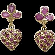 SOLD Vintage 18k Gold Natural Ruby Heart Dangle Earrings