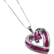 Vintage Sterling Silver Ruby Heart Necklace