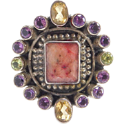 Vintage Sterling Silver Ruby, Peridot, Citrine and Amethyst Ring