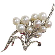 Sterling Silver Genuine Cultured Pearl Brooch / Pin