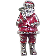 Vintage Santa Claus Charm with Red Enamel Sterling Silver