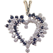 REDUCED Vintage 14k Gold Two-Tone .85 ctw Sapphire and Diamond Heart Pendant
