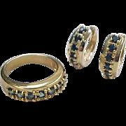 Vintage Gold Vermeil Natural Sapphire Huggie Hoop Earrings and Ring Set