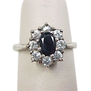 Vintage Sterling Silver Sapphire and Faux Diamond Ring