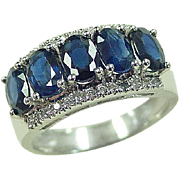 Vintage 14k White Gold Wide 3.13 ctw Sapphire and Diamond Band Ring