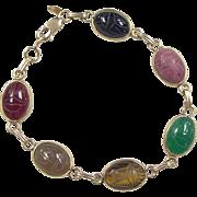 Vintage 14k Gold Scarab Gem Stone Bracelet