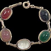 SALE Vintage 14k Gold Scarab Gem Stone Bracelet