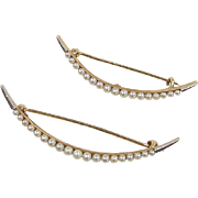 Victorian 14k Gold Seed Pearl Crescent Moon Scatter Pins