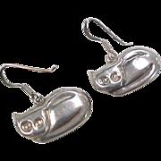 Vintage Sterling Silver Cat Earrings