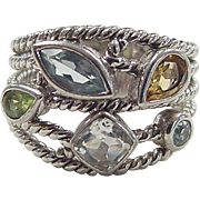 Vintage Sterling Silver Quartz, Citrine, Peridot and Blue Topaz Ring