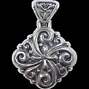 Vintage Sterling Silver Swirl Pendant
