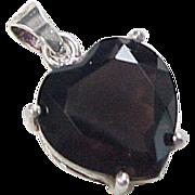 Vintage Sterling Silver Smoky Quartz Heart Pendant