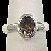 Vintage Sterling Silver Smoky Quartz Ring