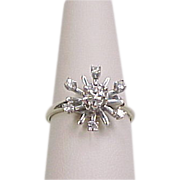 Vintage 14k White Gold Diamond Snowflake Ring .28 ctw
