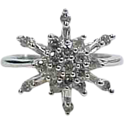 14k White Gold Diamond Snowflake / Star Ring .51 ctw
