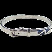 Vintage Sterling Silver Sodalite Buckle Bracelet