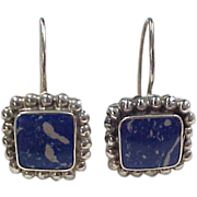 Vintage Sterling Silver Square Lapis Lazuli Earrings