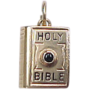 Vintage 14k Gold Holy Bible Stanhope Viewer Charm ~ Ten Commandments