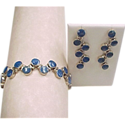 REDUCED Sterling Silver Lapis Lazuli Bracelet and Earrings Set