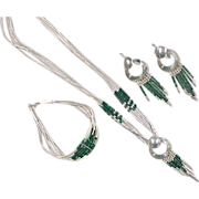 Vintage Sterling Silver Malachite Bead Set ~ Earrings, Bracelet, and Necklace