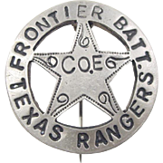Vintage Sterling Silver Texas Ranger Pin / Brooch