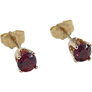 Vintage 14k Gold .48 ctw Deep Pink Tourmaline Stud Earrings