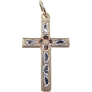 Vintage 14k Gold Tri-Color Cross Charm