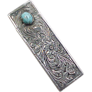 Vintage 800 Silver Turquoise Lipstick Case With Mirror