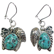 Vintage Sterling Silver Native American Turquoise Earrings