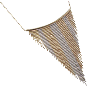 """Vintage 14k Gold Two-Tone Beaded Bib Necklace ~ 17"""""""