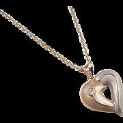 "Vintage 14k Gold Two-Tone Diamond Heart Necklace ~ 16"""