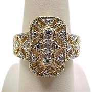 Vintage Sterling Silver Gold Wash Two-Tone Faux Diamond Ring