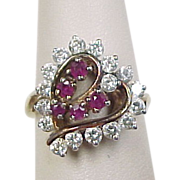 Vintage Gold Vermeil Two-Tone Ruby & Faux Diamond Heart Ring