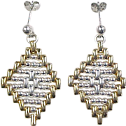 Vintage Sterling Silver and Gold Vermeil Earrings