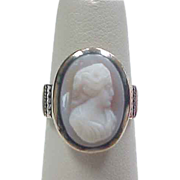 Victorian 9k Rose Gold Hard Agate Cameo Ring