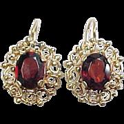 Victorian Revival 14k Gold Garnet Filigree Earrings ~ 6 ctw