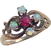 Victorian 10k Gold Opal and Faux Ruby Ring