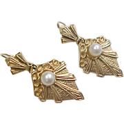 Victorian 14k Gold Dangle Earrings with Pearl