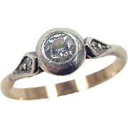 Victorian 14k Gold and Silver Faux Diamond Ring