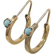 Victorian 14k Gold Persian Turquoise Etched Hoop Earrings